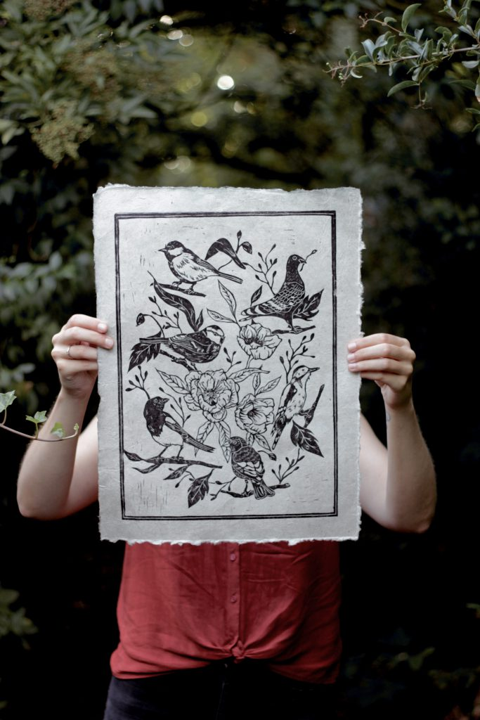 Art print inspired by my native birds that can been seen in our gardens, printed on 150 grams Lokta paper, slightly bigger than A3. Soon you can buy an original print in my Etsy store.