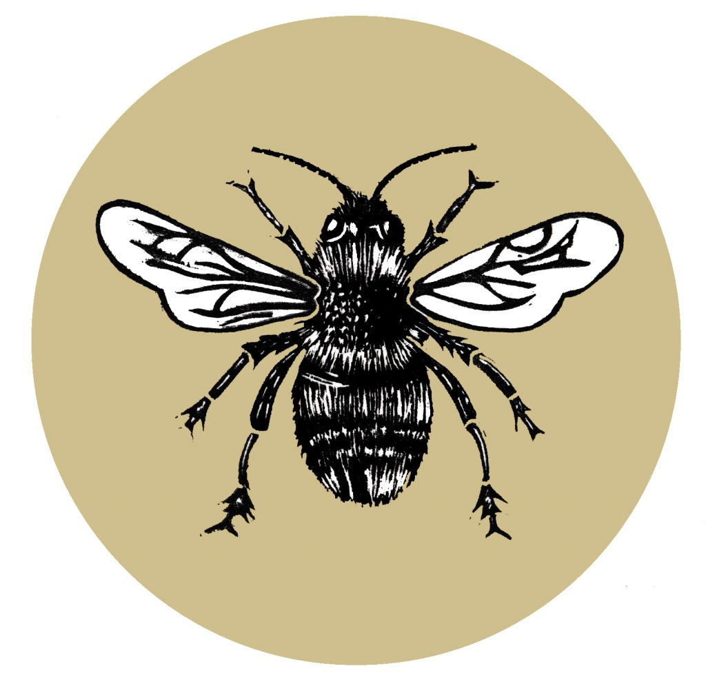 Bumblebee inspired illustration, digitalized. Originally made with linocut technique.